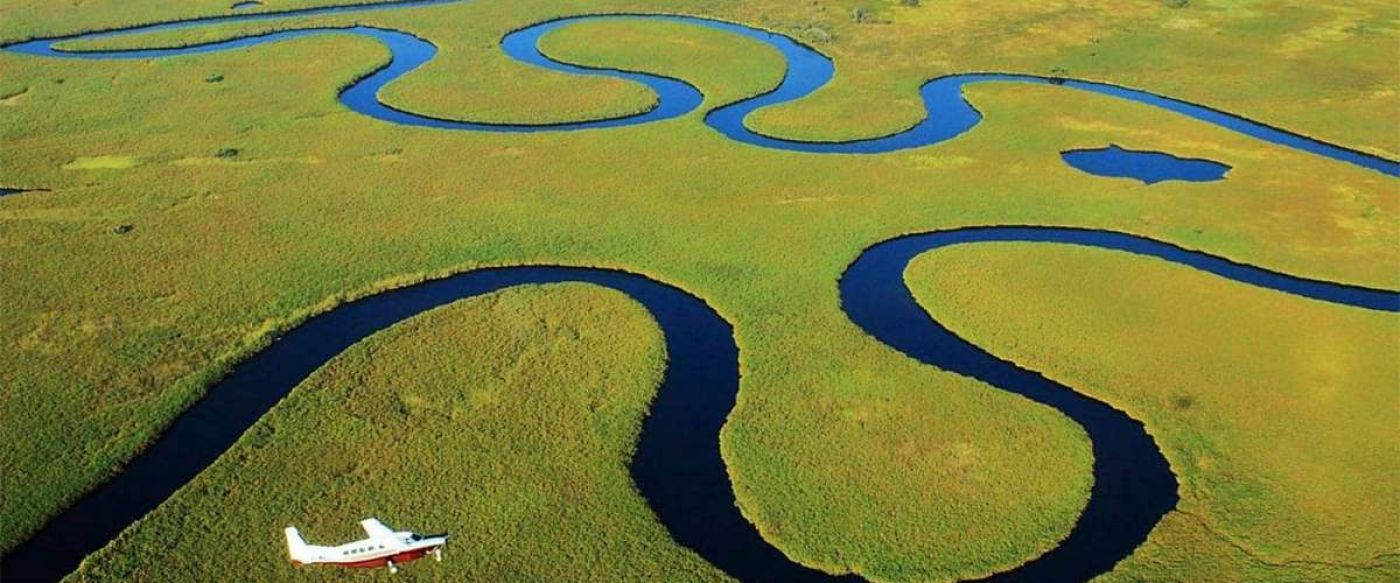 small plane flying over a green Okavango with swirling dark blue water channels