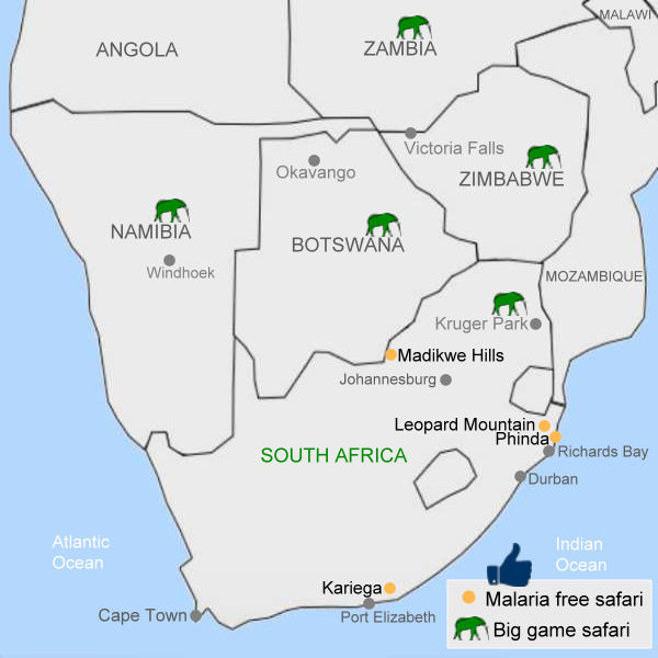 Out in Africa South Africa malaria free safaris map