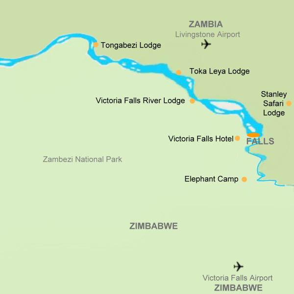 Out in Africa map of Victoria Falls lodges