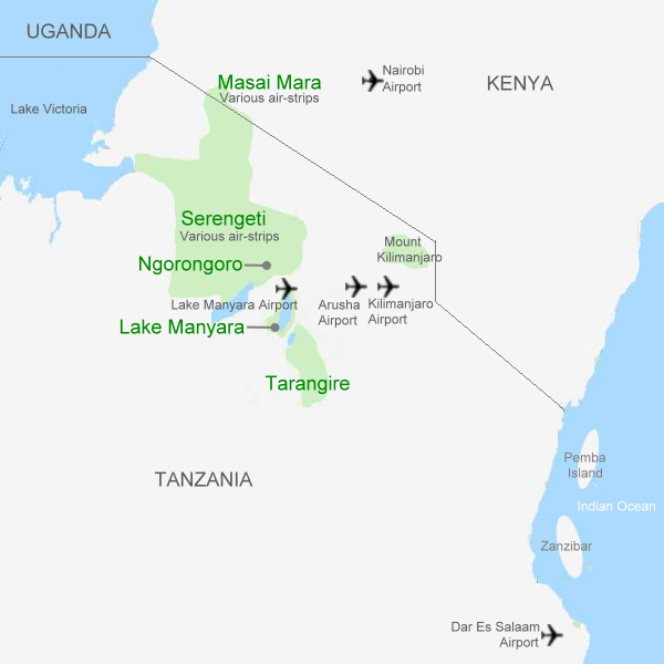 safari map showing main tourist destinations in Kenya and Tanzania